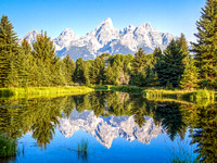 Tetons Reflected in Water's of Schwabacher's Landing, WY