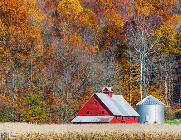 Autumn Red Barn and Hillside