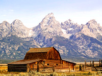 Barn and Corral with Teton Range Behind