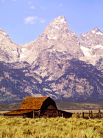 Old Barn with Teton Peaks Behind